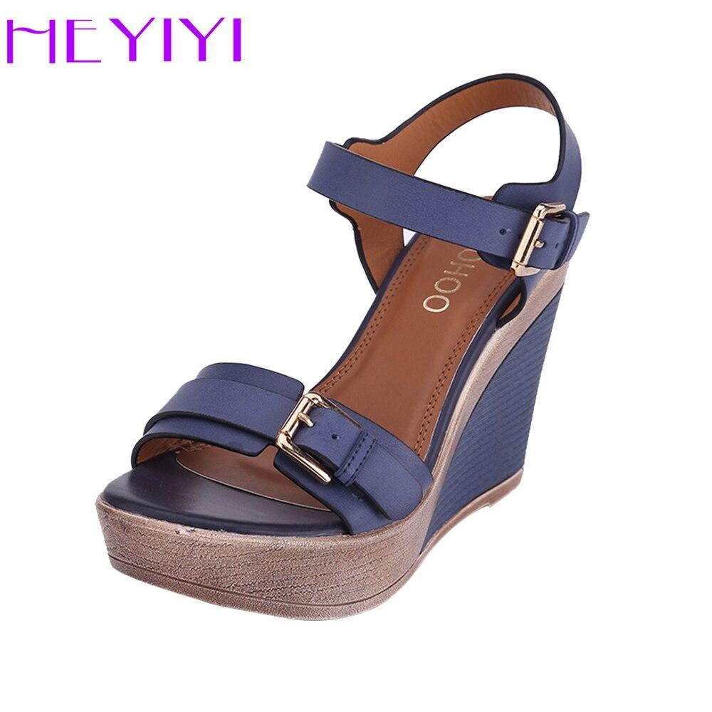 Cales Chaussures Femmes Sandales Plate-Forme Haute Talons 11 cm Solide Boucle Sangle PU En Cuir Souple Semelle Bleu Léger Noir Bleu chaussures