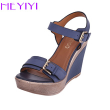 Купить с кэшбэком Wedges Shoes Women Sandals Platform High Heels 11cm Solid Buckle Strap PU Leather Soft Insole Blue Lightweight Black Blue Shoes