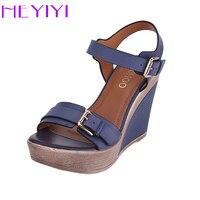 Wedges Shoes Women Sandals Platform High Heels 11cm Solid Buckle Strap PU Leather Soft Insole Blue Lightweight Black Blue Shoes