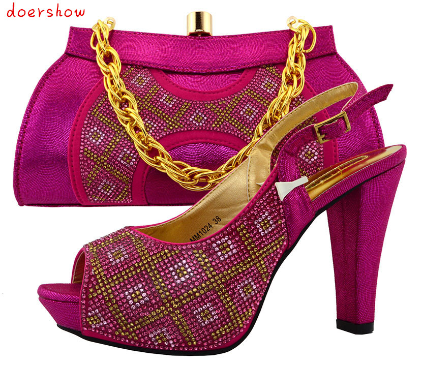 doershowFashion African Shoe and Bag Matching Set African Wedding Shoe and Bag Sets Women Shoe and Bag To Match for partyPUW1-36
