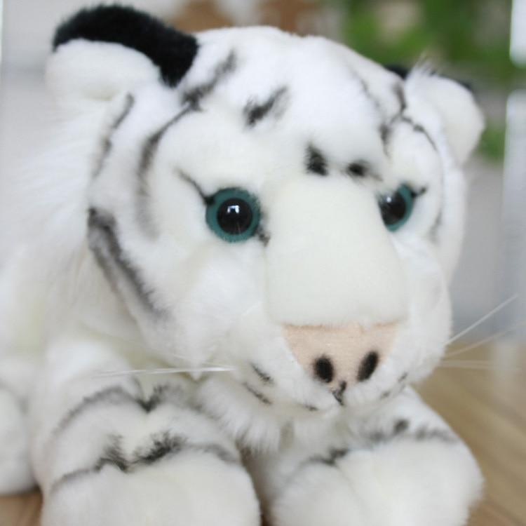 Stuffed Animal 35cm Lying Tiger Plush Toy White Tiger Doll Gift