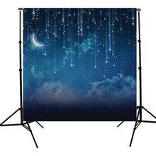 10x10FT Голубое Небо Луна Блеск Звезды Ночь На Заказ Фото Фон Для Studio Фотография Реквизит Фотографические Фонов ткани