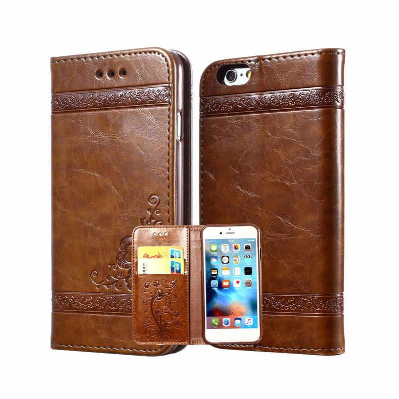 Copertura Della Cassa Del Telefono Mobile DELL'UNITÀ di elaborazione di Vibrazione del Cuoio della Carta Del Raccoglitore di Modo Per iPhone6s 7 8 Più di X HSJ-19