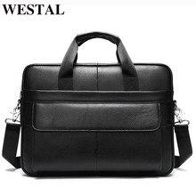 WESTAL Mens Briefcases Bag Mens Genuine Leather Office Bags for Men Messenger Bag Leather Laptop Bag for Document Briefcases