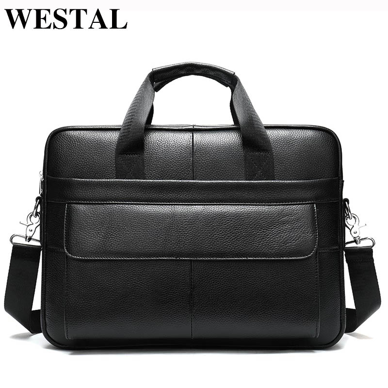 WESTAL Men's Briefcases Genuine Leather Office Bags For Men Bags For Documents Messenger Bag Men Leather Laptop Bag Briefcases