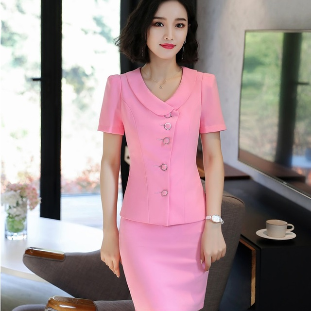 afecf63ea960 2018 New Styles Summer Professional Business Women Work Wear Blazers With 2  Pieces Tops And Skirt Ladies Uniforms Clothes Pink