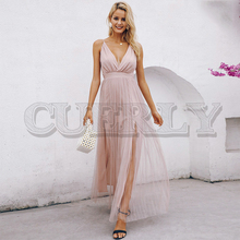 CUERLY Mesh pink lace women dress Elegant v neck evening maxi christmas Autumn winter sexy long party vestido festa