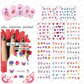 2015NEW 20 UNIDS/LOTE BLE1951-1961 Las Transferencias de Agua de uñas Uñas Pegatinas de Uñas Tatuaje Flores Mariposas