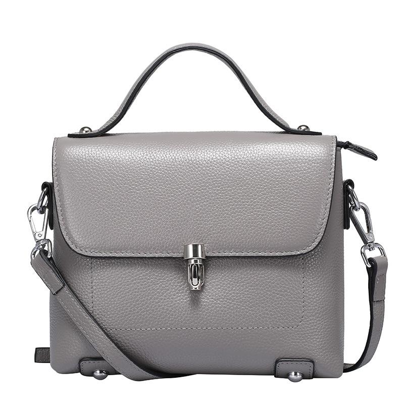 Fashion Women Genuine Leather Handbags Ladies Cow Leather Small Flaps Lock Messenger Bags Female Cowhide Corssbody Bags QZ5753