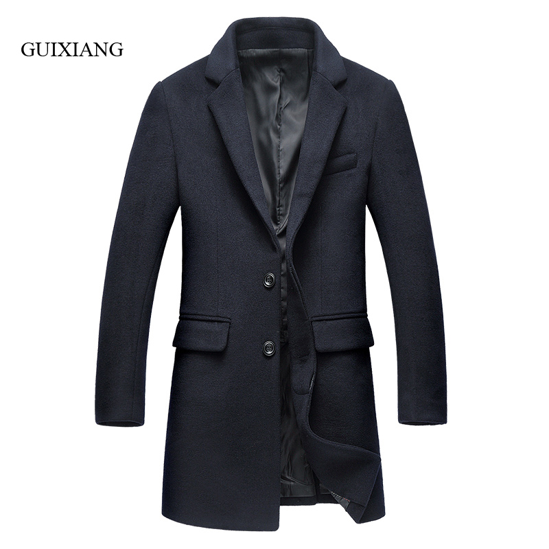2017 new autumn and winter style men's woolen coat business casual solid single breasted woolen overcoat jacket large sizeM-3XL