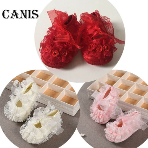 Newborn Infant Baby Girl Soft Crib Sole Lace Floral Riband Non-slip Ballet Shoes
