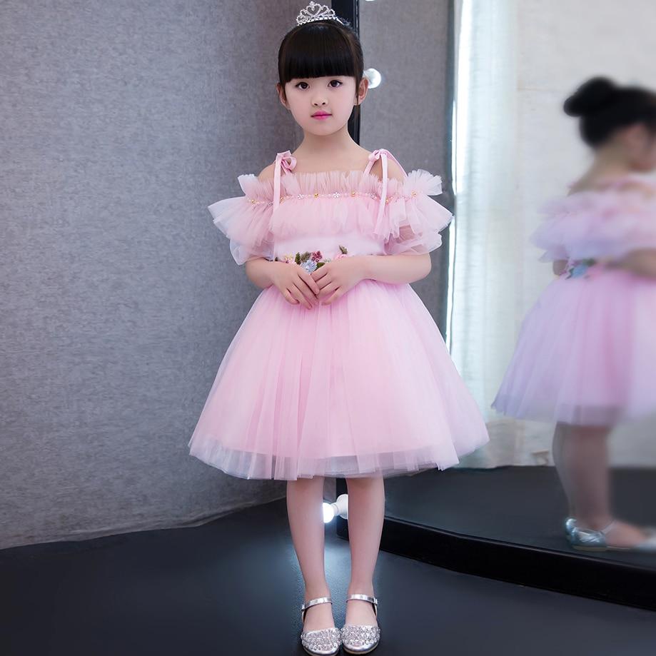 2019 Korean Style Baby Girls Pink Birthday Wedding Party Princess Dress Kids Costume Shoulderless Dresses Evening Party Clothing2019 Korean Style Baby Girls Pink Birthday Wedding Party Princess Dress Kids Costume Shoulderless Dresses Evening Party Clothing