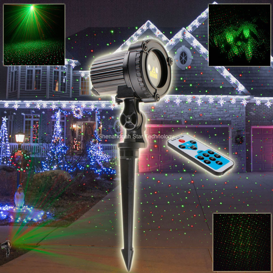 ESHINY Outdoor WF Remote R&G Laser Full Stars Patterns Projector Bar Lawn Party Tree House Landscape Garden Light Show N75119