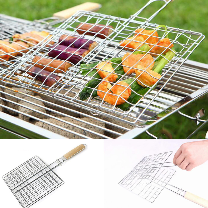 BBQ FISH//MEAT//VEGETABLE GRILL CHROME PLATED WITH  WOODEN HANDLE