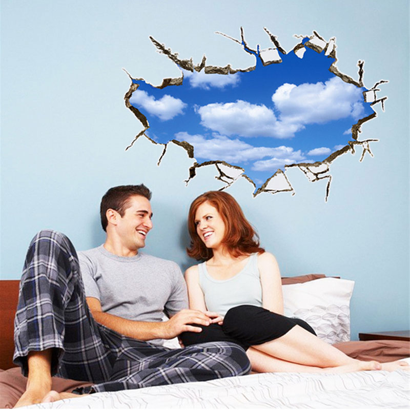 3D Warmly Decorated Blue Sky And White Clouds Wall Sticker Bedroom Pegatinas De Pared Wall Stickers Home Decor