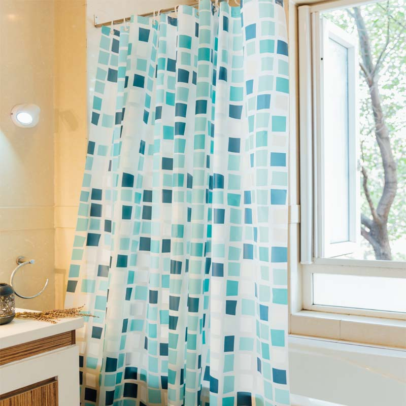 Modern PEVA Shower Curtain Waterproof For The Bathroom Blue Pink Plaid Curtains Home Bath Douchegordijn In From