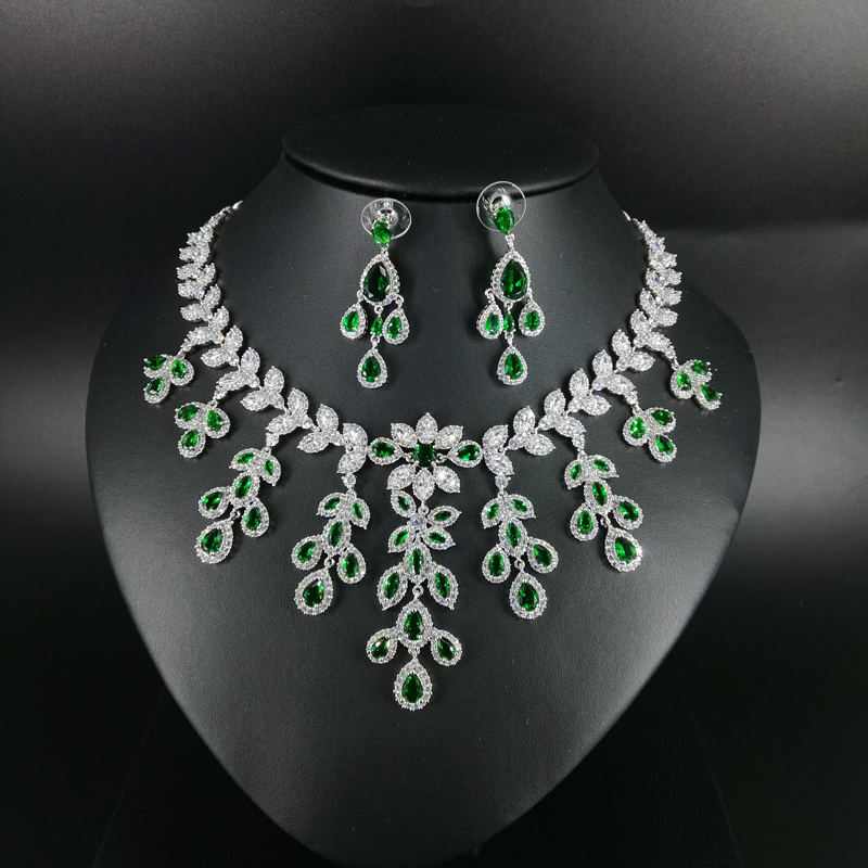 2019 New fashion Luxury green leaves CZ zircon necklace earring wedding bride banquet dressing dinner jewelry set,free shipping2019 New fashion Luxury green leaves CZ zircon necklace earring wedding bride banquet dressing dinner jewelry set,free shipping