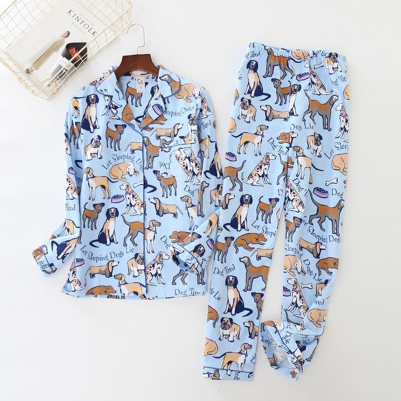 New Blue Women Pajamas 2018 Cute Dog Print Brushed Cotton Pijama Long Sleeve Elastic Waist Pants Lounge Nightwear Pyjamas S80001