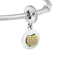 Fits Bracelet Charms Beads For Jewelry Making Signature Heart Dangle Charm With AAA CZ FANDOLA Real
