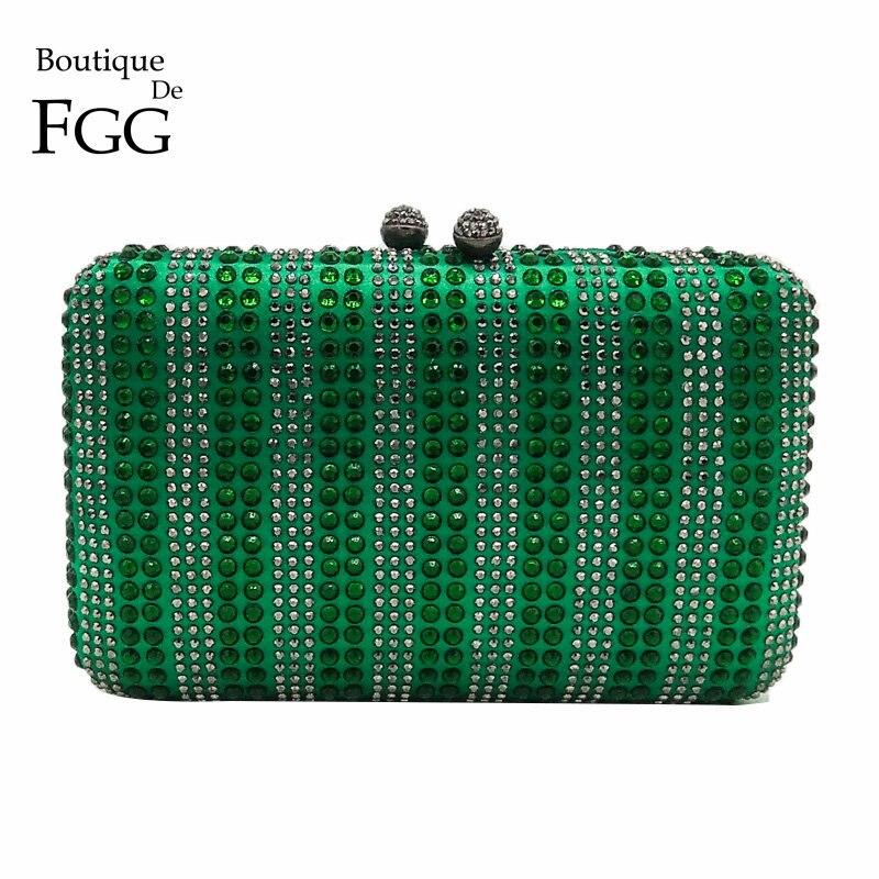 Boutique De FGG Green & Clear Striped Women Crystal Clutch Evening Bag Wedding Party Cocktail Rhinestone Metal Handbag Purse