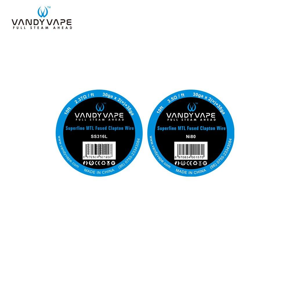 Original Vandy vape Super MTL Verschmolzen Clapton SS316L/NI80 Draht 30ga * 2 + 38ga 10ft 30gA * 2 (=) + 38GA Elektronische zigarette Zerstäuber