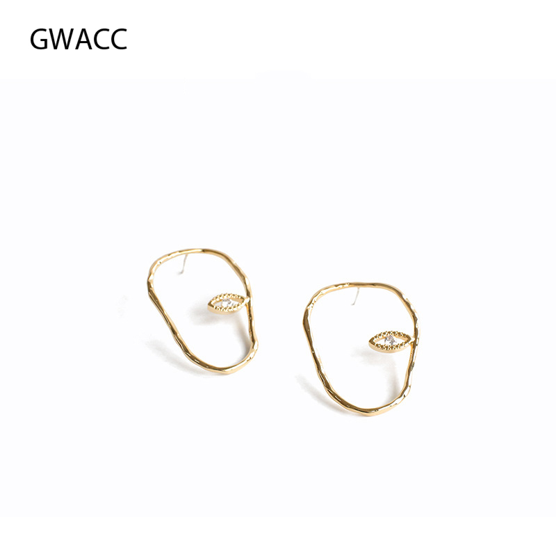 GWACC Abstract Face Stud Earrings For Women Girls Minority Design Modern Minimalist Metal Brass Gold Color Irregular Jewelry in Stud Earrings from Jewelry Accessories