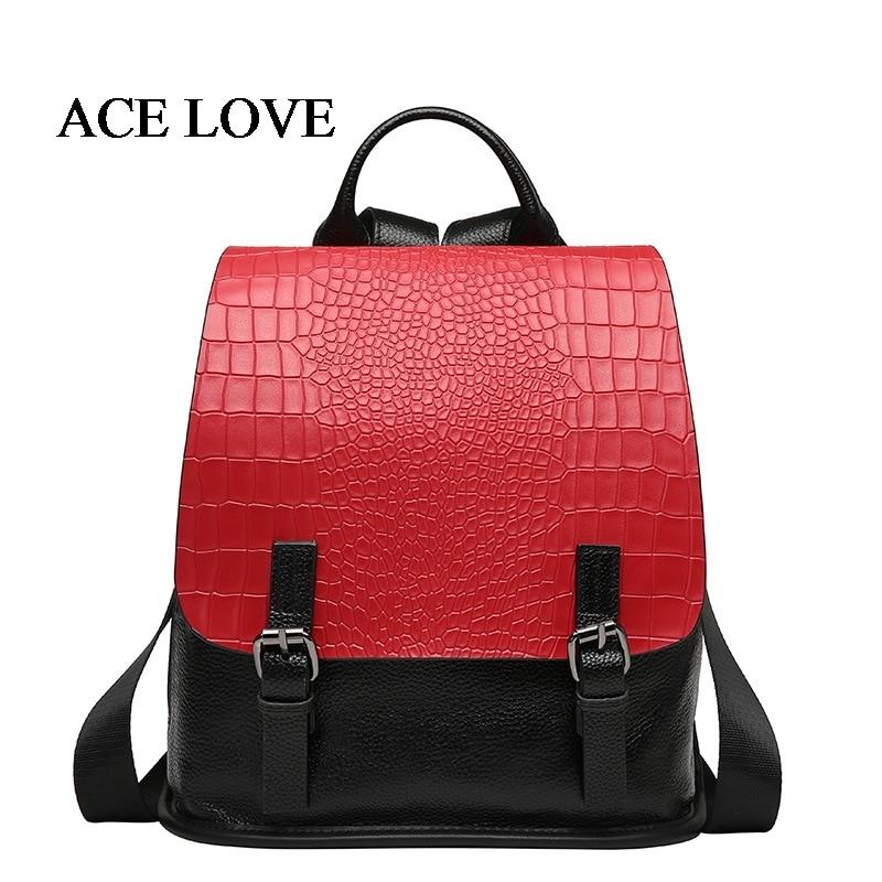 ФОТО 2017 New Women Genuine Leather Backpack For Girls College Female Fashion Backpacks Crocodile Woman Bag Travel School Bag