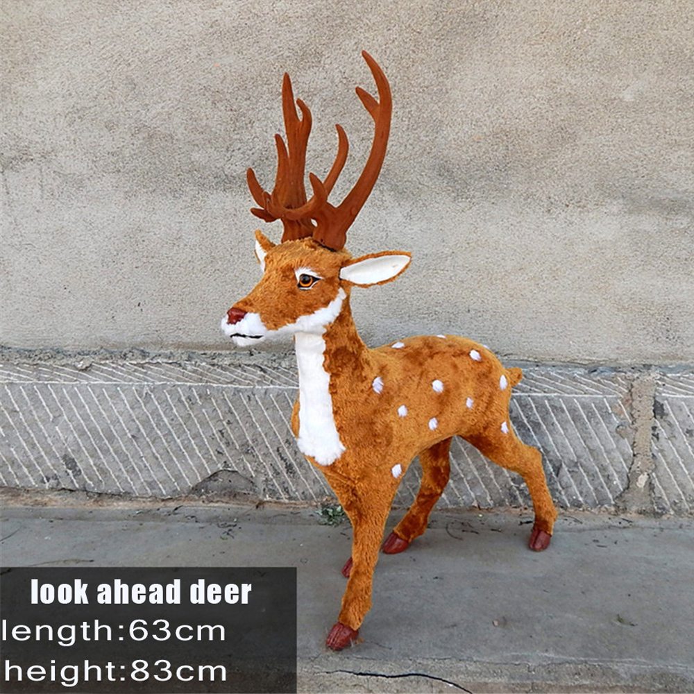 Fancytrader Simulation Sika Deer Model Toy,Polyethylene Faux Furs Reindeer Handicraft Christmas Decorations for Home fancytrader beautiful simulation fox toy