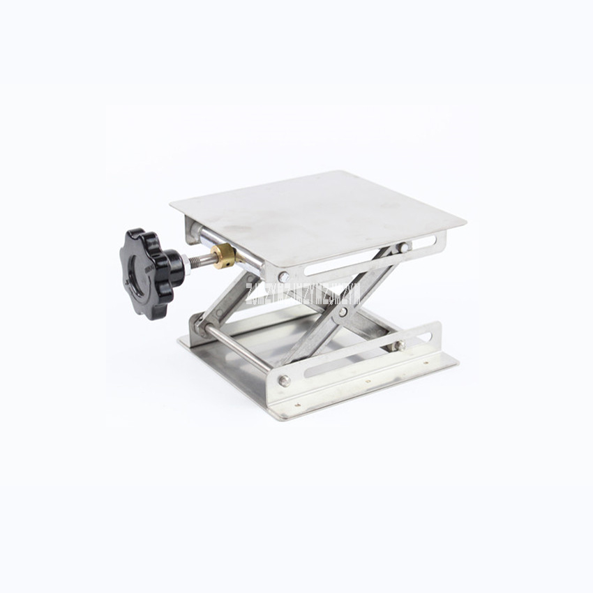 Stainless Steel Lifting Platform Thickening Laboratory Manual Lifting Table Single Layer Kirsite Bracket Lift Table Stand Rack