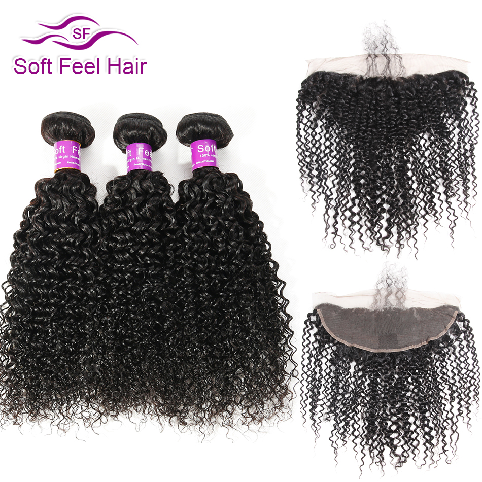 Soft Feel Hair Brazilian Kinky Curly 3 Bundles With Frontal Remy Human Hair Weave Lace Frontal