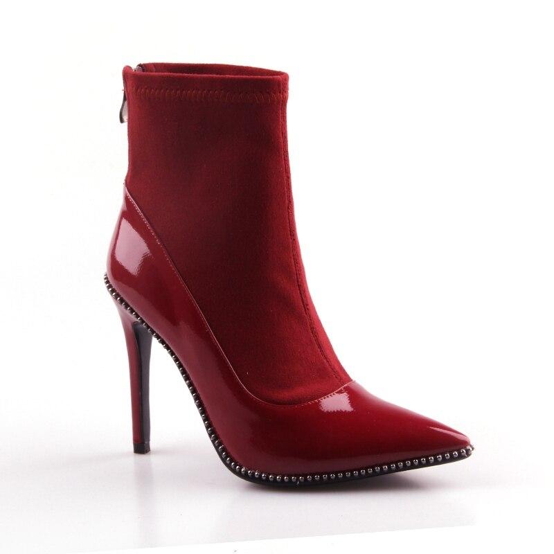 Tobillo Boda Zapatos Para Genuino Remaches Puntiagudos Marca Red S703 De Otoño Diseño Tacón Botas Asileto Las Mujeres Alto Cuero xwfCqSIw