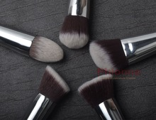 5 Pieces Brushes Kit Synthetic Hair Silver Tube Black Wood Handle Make Up Free Shipping