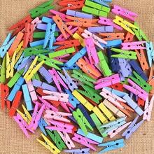 50 Uds. De Mini Clip de madera de colores suministros de oficina nota fotográfica Pin de clavija DIY artesanía postal decoración Clips longitud 2,5 cm