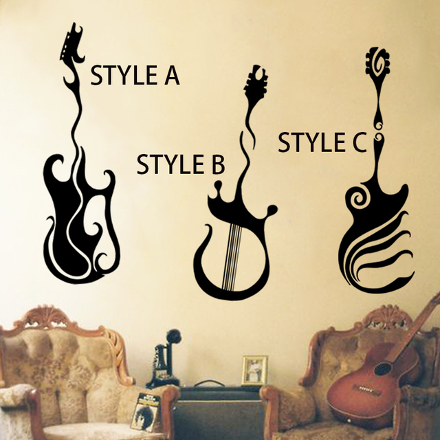 art design home decoration vinyl musical equipment guitar wall