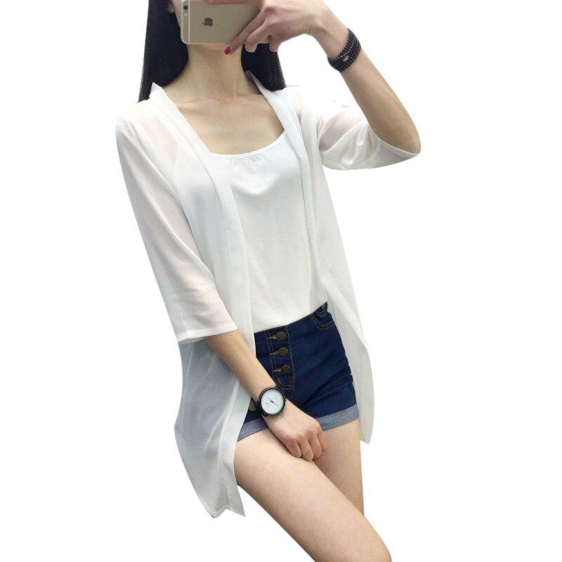 2017 Nouvelle Arrivée D'été Femmes En Mousseline de Soie Solide O-cou Manches Ouvert-point Slim Mince Femme Transparent Veste XB340
