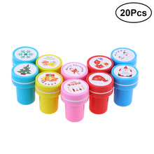 20pcs Cute Stampers Plastic Signet Set Rewards Party Favors Supplies Cartoon Rubber Stamps Scrapbooking Reward Toy(China)