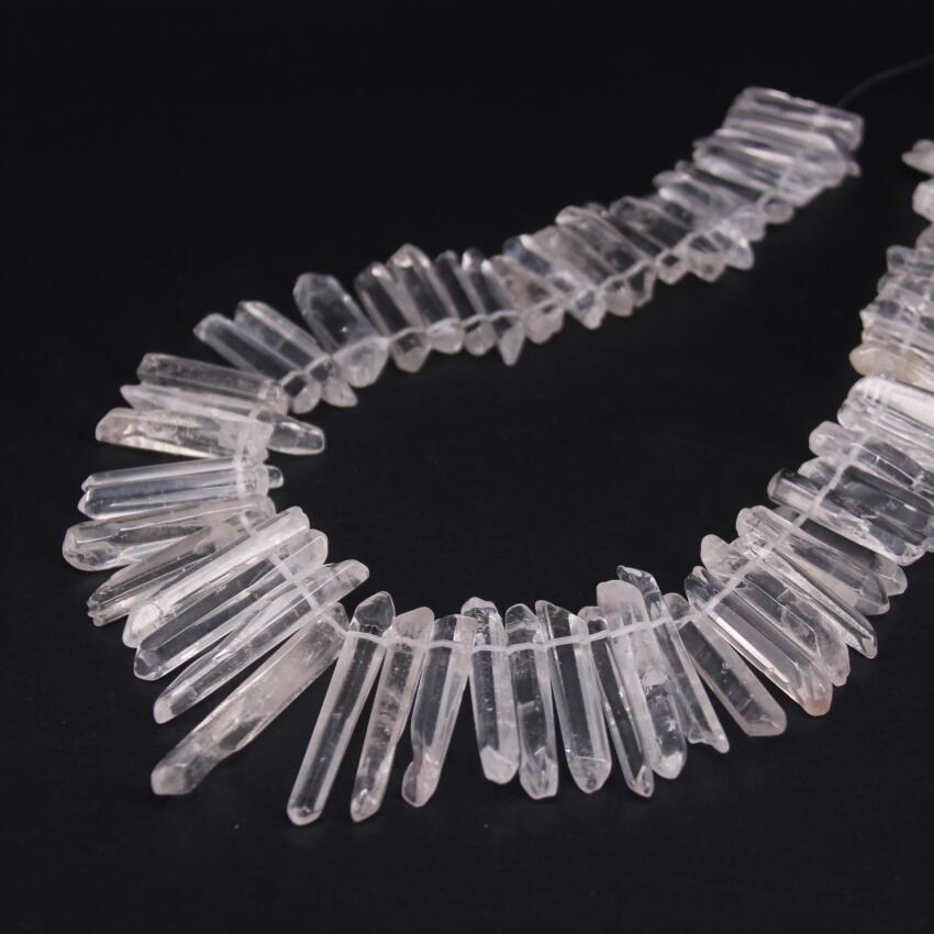 60-66pcs/strand Top Drilled Polished Natural Clear Quartz Point Beads,raw Crystal Quartz Gems Tusk Stick Spike Pendants Jewelry Jewelry & Accessories