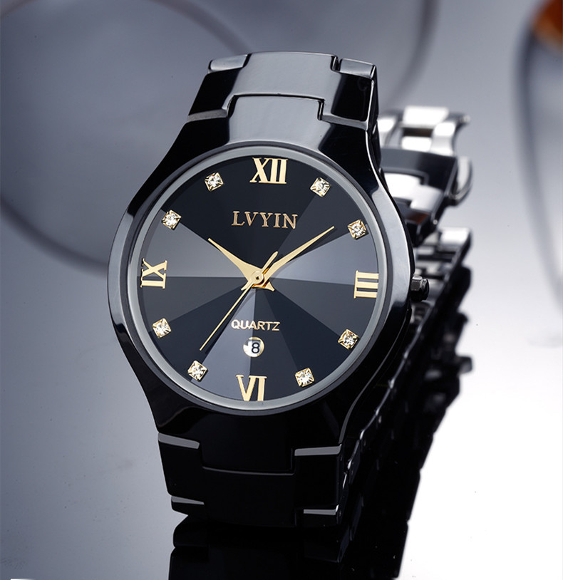 Cool Lovers Black Ceramic Dress Watch Japan Quartz Business Calendar Wristwatch Couples Roman Analog Clock Crystals