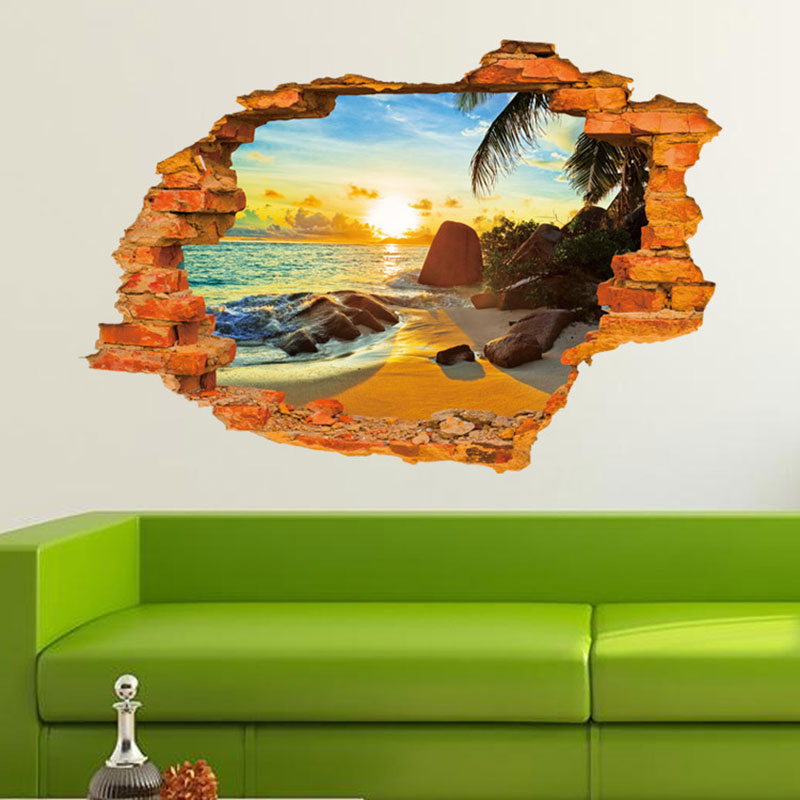 Creative Home Decor 3D Wall Sticker Broken Wall Style Tropical Sunset Beach Pattern For Kids Room 60*90 CM
