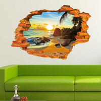 Creative Home Decor 3D Wall Sticker Broken Wall Style Tropical Sunset Beach Pattern For Kids Room
