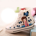 Hot Sale Women's Shoes Spring 2016 Hand Painting High Canvas Shoes for Women Platform Casual Shoes Woman Skate Footwear