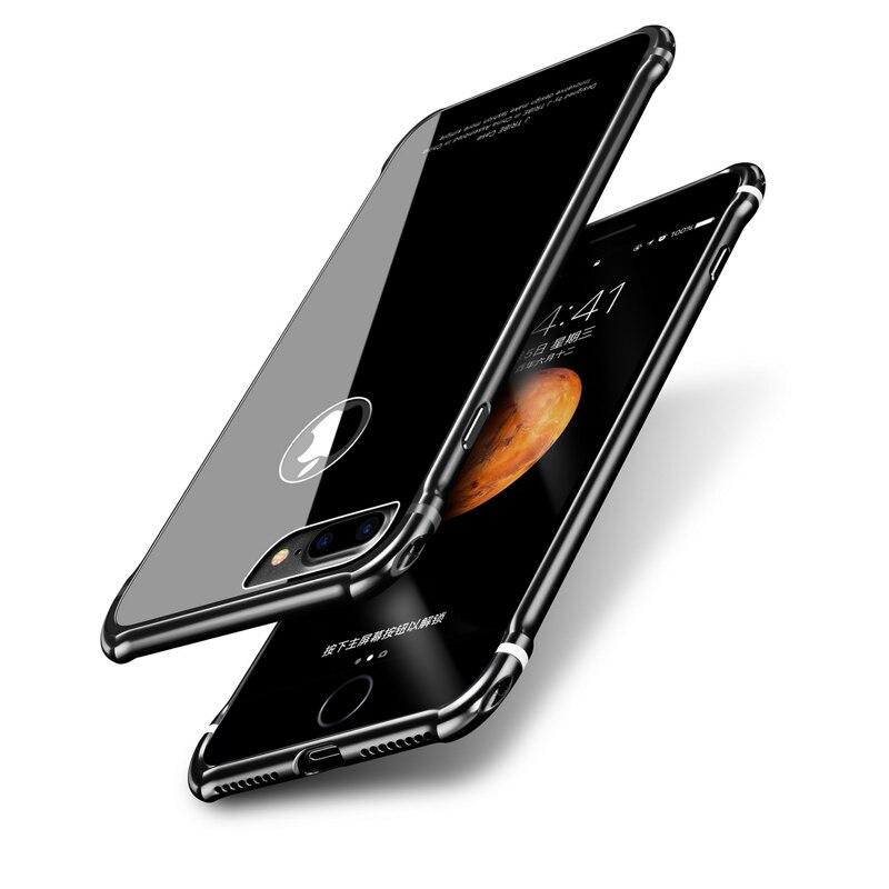 Luxury Phone Case For iPhone 7 plus Metal Bumper Aluminum + Tempered Glass Back Border Frame Cover For iPhone 7plus Coque Funda
