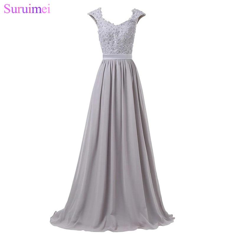 Robes De demoiselle d'honneur longues violet clair longueur De plancher dentelle broderie Applique argent gris bleu Royal robe De mariage événement robe - 3