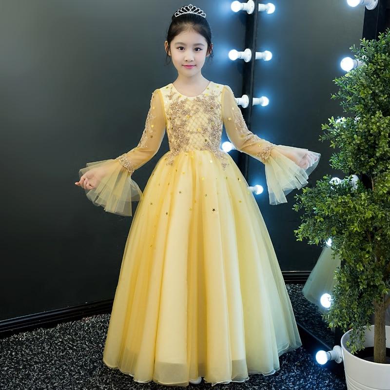 2017 New High Quality Luxury Children Girls Princess Ball Gown Birthday Wedding Party Dress Kids Elegant Pageant Dress For 4~15