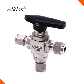 3000psi 1/2 inch OD Ferrule fitting on-of High pressure stainless steel 3 way ball valve