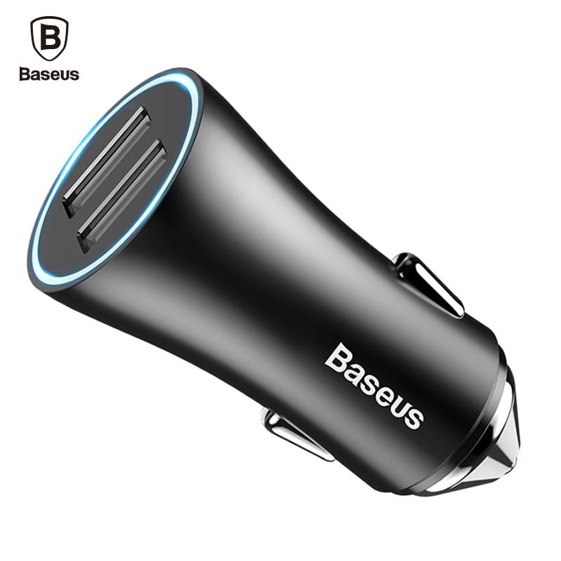 Baseus Double Port USB Chargeur De Voiture Pour iPhone Xiaomi Samsung 2.4A Charge Rapide Adaptateur En Métal Mini USB De Voiture-Chargeur Pour Mobile téléphone