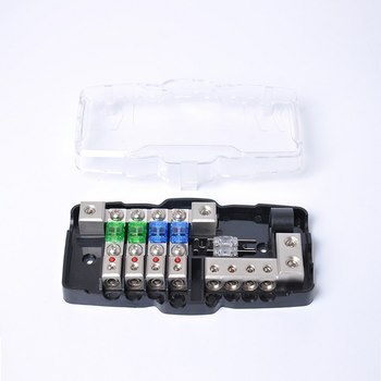 Multifuncional LED COCHE Audio estéreo Mini ANL caja de fusibles con fusible de 4 vías adecuado para coches barcos de repuesto automático partes