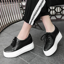 Lace Up Tennis Shoes Women Cow Leather High Heel Pumps Wedges Oxfords Casual Punk Sneakers Platform Creepers 2019