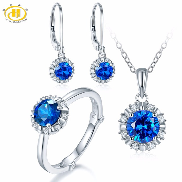 Hutang Natural September Birthstone Created Shire Solid 925 Sterling Silver Ring Pendant Earrings Gemstone Jewelry Sets
