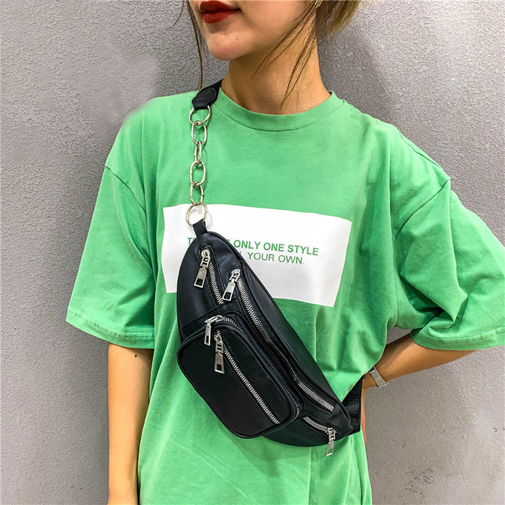 Chain Fanny Pack For Women Solid Color Oval Fashion Zipper Wild Chest Bag Messenger Bag Heuptas